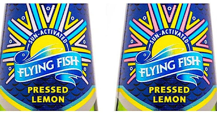 Multi-Color designs sun-activated labels for Flying Fish