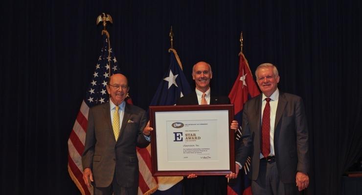 (From left) U.S. Secretary of Commerce Wilbur Ross; Sauereisen President Eric Sauereisen; and U.S. Under Secretary of Commerce for International Trade Gilbert B. Kaplan