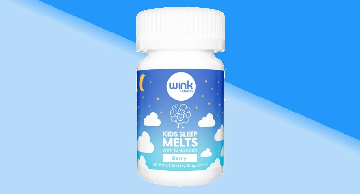 The Kids Sleep Melts are dietary supplements containing 1 mg melatonin per serving. Image courtesy of Wink.