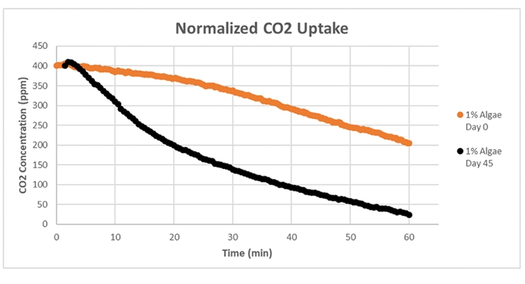 Figure 11.  Carbon dioxide uptake for the coated PET containers at 1% algae loading level tested on  0 and 45 days after the coatings were made.