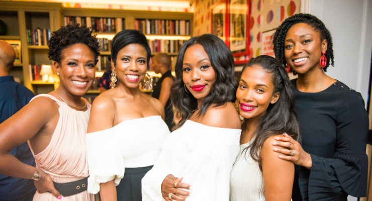 Co-founder of 25 Black Women in Beauty, Cara Sabin, with Jacque Reid, Kahlana Barfield Brown, Melissa Butler and Karla Davis. Image courtesy of PRNewswire