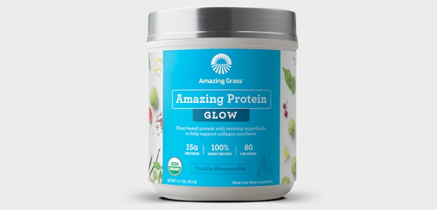 Drinks with collagen show promise in beauty. Amazing Grass offers this protein powder.