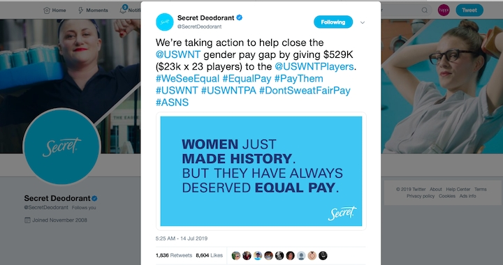 Secret Aims To Close Soccer Pay Gap