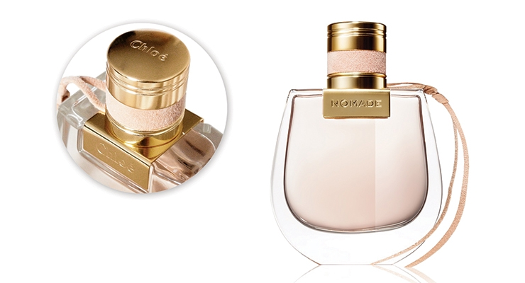 For Chloé's feminine Nomade scent, Axilone accented the closure with a pink suede 'headband.'