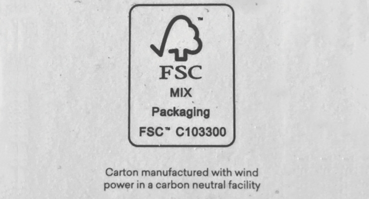 A close-up of the FSC logo, as printed on Naturally Serious Skincare's carton.