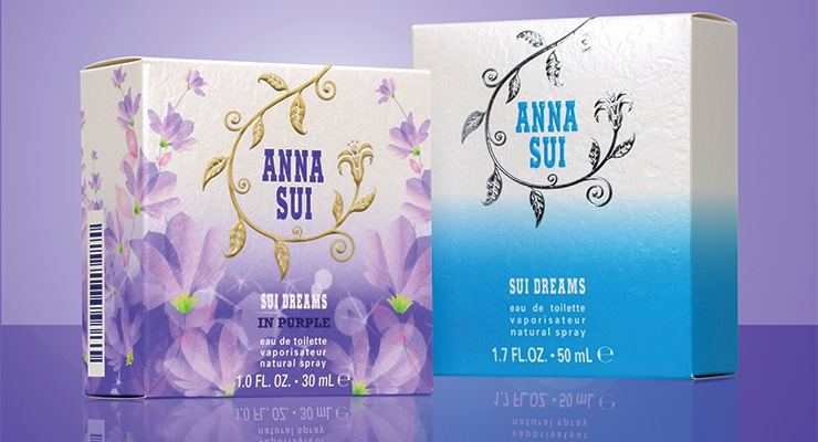 Anna Sui's carton for the new fragrance, Sui Dreams in Purple,  by Diamond Packaging, is eco-friendly.