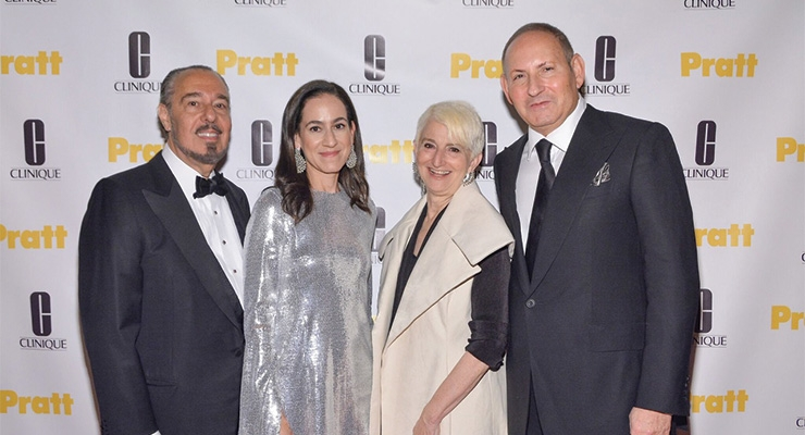 (L-R): Marc Rosen, designer, professor and trustee emeritus, Pratt Institute; Jane Lauder, global brand president, Clinique; Frances Bronet, president, Pratt Institute; John Demsey, group president, The Estée Lauder Companies