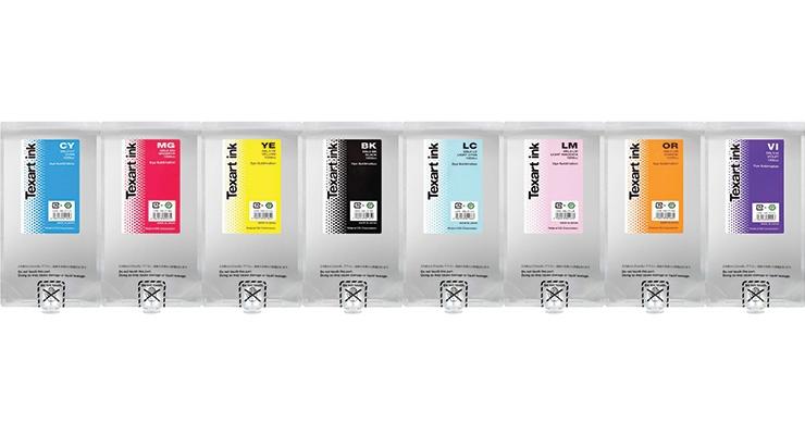 Roland DGA's Texart SBL3 dye sublimation inks. (Photo courtesy of Roland DGA)