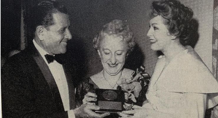 Florence Wall appeared on TV. Here she is with actress Arlene Dahl and TV star Warren Hull.