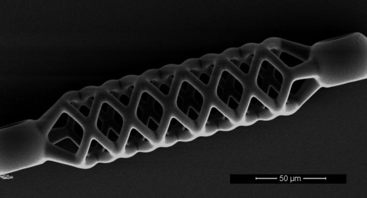 This microstent is just 50 micrometers (0.05 mm) wide and half a millimeter long. Image courtesy of De Marco et al, Adv Mater. Techn. 2019; ETH Zurich.
