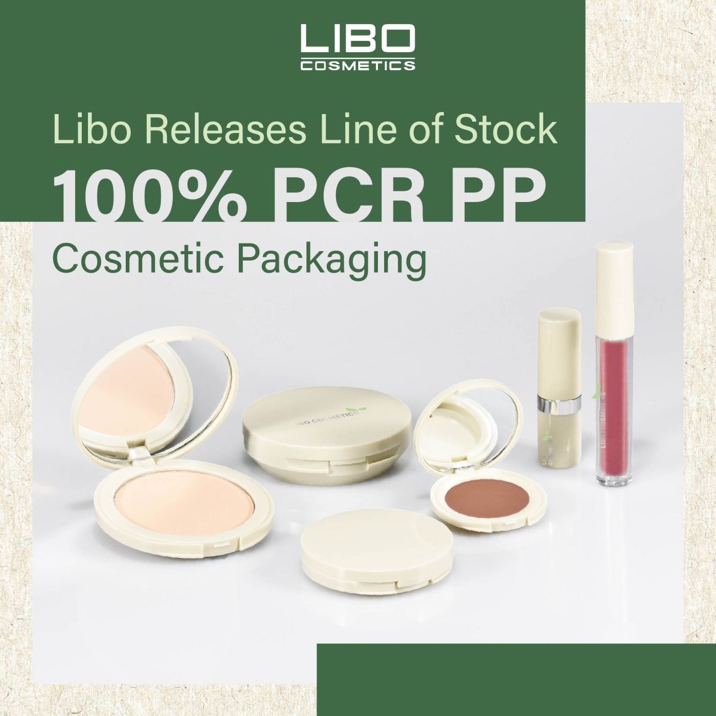 Libo Releases Line of Stock 100% PCR PP Cosmetic Packaging