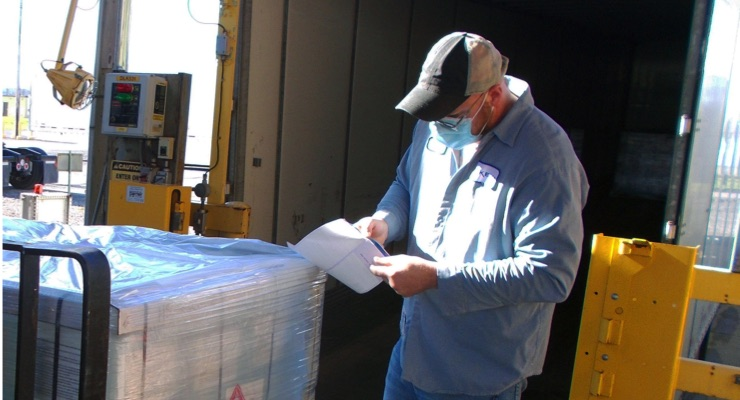 Arkema employee prepares hand sanitizer for shipment from its Geneseo, N.Y. plant to emergency management officials in New York State, Pennsylvania, Texas and Tennessee for use in the fight against COVID-19.