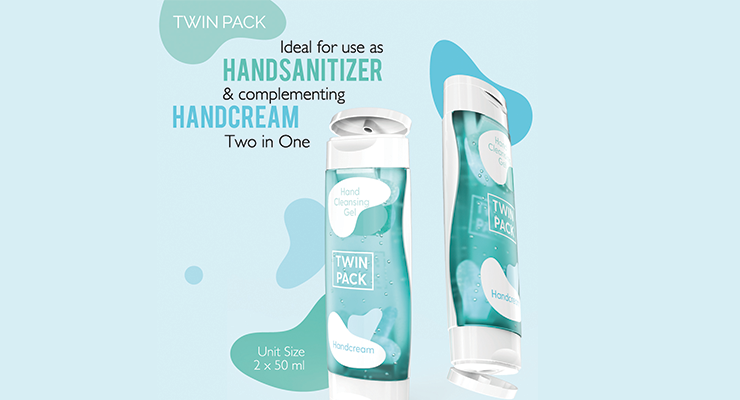 Corpack's Travel-Sized Two-in-One Pack Bottle Holds Hand Cleansing and Soothing Products
