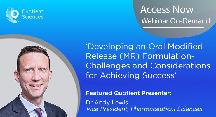 Free Webinar:  Developing an Oral Modified Release (MR) Formulation