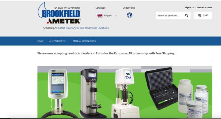 AMETEK Brookfield Launches New Europe E-Commerce Website