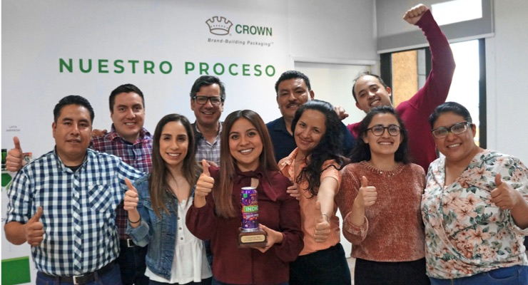 Crown Brand-Building Packaging of Mexico Celebrates with INX Can Design Contest Trophy