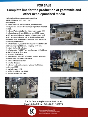 FOR SALE - Complete line for the production of geotextile and other needlepunched media