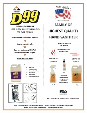D99 Hand Sanitizer Added To The D99 Cleaner / Degreaser Product Line That Has Been Used In FDA Inspected Facilities For Over 20 Years