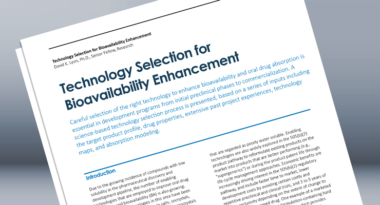 Technology Selection for Bioavailability Enhancement