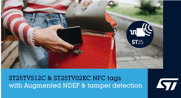 STMicroelectronics Powers NFC Applications with Message Content, Anti-Tamper in New Type-5 Tags