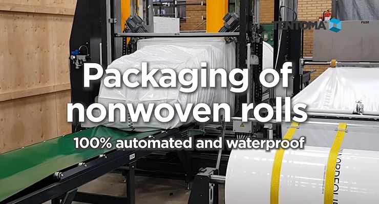 100% waterproof packaging of nonwoven rolls