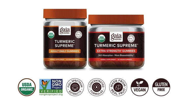 Gaia Herbs Launches Turmeric Supreme Gummy Line