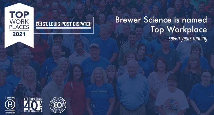Post Dispatch Names Brewer Science a Winner of the Greater St. Louis Top Workplaces 2021