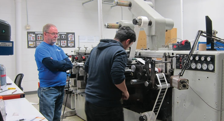 A job being run on one of Argent's Webtron flexo presses.