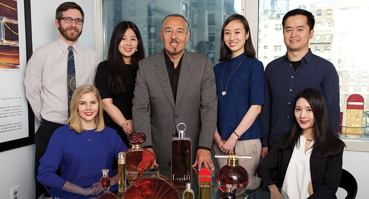 Marc Rosen and the students who received the 2015 Pratt Fragrance Packaging Scholarship Award. Seated (L-R): Saana Hellsten, Olivia Hwayoung Kim. Standing (L-R): Marc Valega, Hsiao-Han Chen, Marc Rosen, In-young Bae, Liyang Xu
